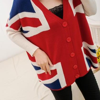 Loose bat sleeve knit cardigan